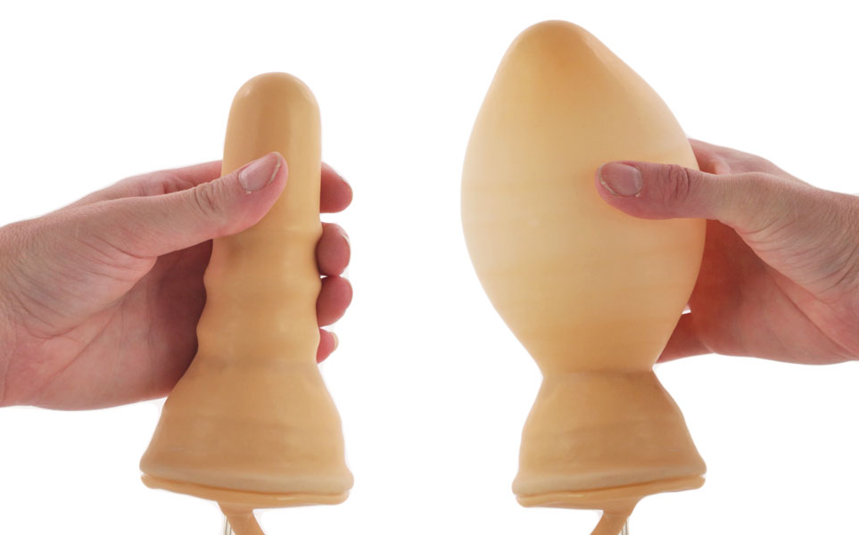 Deflated and expanded butt plugs