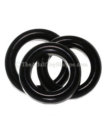 Rubber Cock and Testicle Rings Set - close up