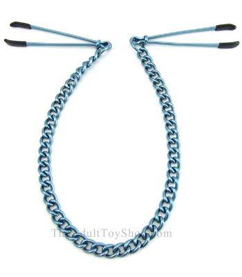 Adjustable Nipple Tweezer style clamps blue