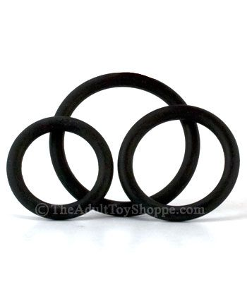3 Rubber Cock Rings - head on