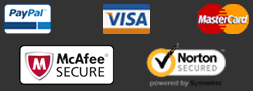 Safe and Secure shopping. We accept Visa, Mastercard and PayPal