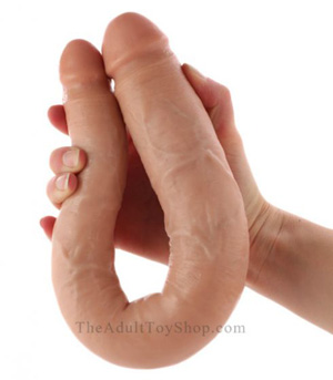 Realistic Double Dildo being bent in a U shape