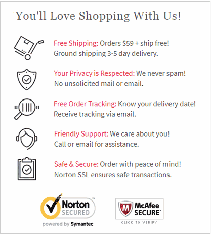 You'll love shopping with Us! Free shipping over $59, Discreet shipping, Discreet Billing